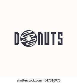 logo donut. Vector design logo. Logo for bakery shop. Vector illustration