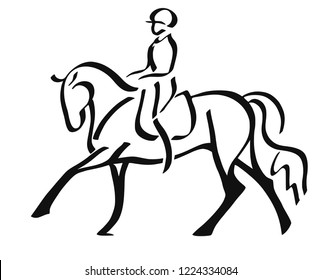 A logo of a dressage horse and rider.