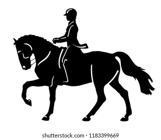 A logo of a dressage rider cantering on a horse.