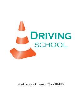 Logo driving school. Colorful vector