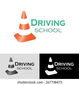 Logo driving school with traffic cone. Different vector variants
