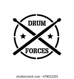 logo, drumsticks, word drum forces, vector graphic doodle art shape, illustration isolated on white background.