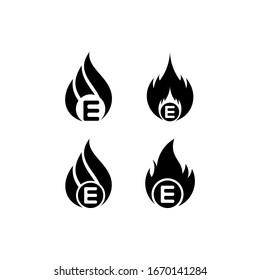 Logo E fire flames, set vector icons template
