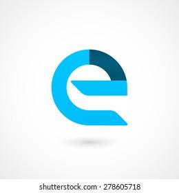 """Logo """"e"""" letter. Isolated on white background. Vector illustration, eps 10."""