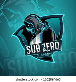 Logo e sport ice ninja , sub zero mascot gaming logo