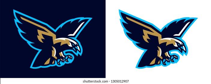 Logo eagle, hawk. Flying eagle. Mascot, bird, falcon, bald, flying, animal, freedom, wing, wildlife. Vector illustration