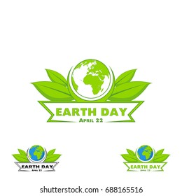 Logo Earth Day. Vector illustration with the words, planets and green leaves.