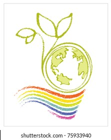 Logo - Eco / Environmental Theme (Earth, rainbow and a little plant)