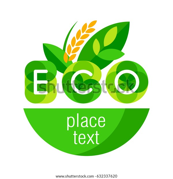 Logo ECO. Green leaves and spikelets. Vector illustration.