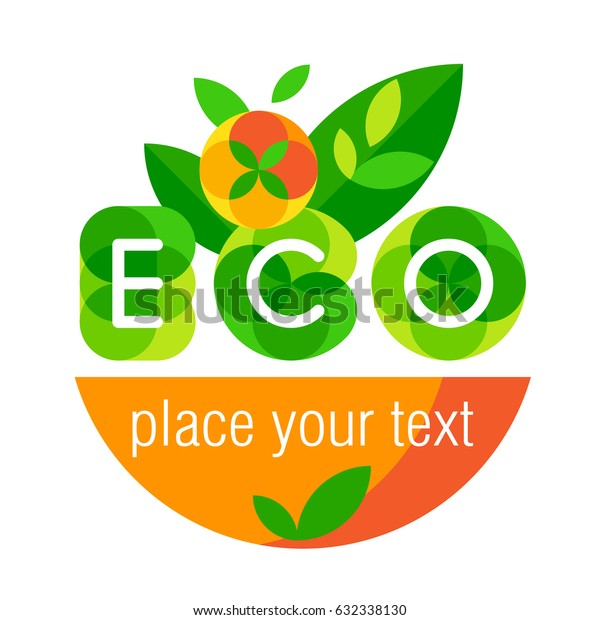Logo ECO. Mature vegetables and fruits. Vector illustration.