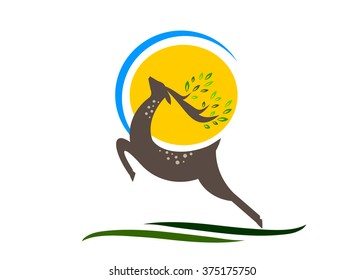 logo ecology. A deer with horns and leaves against the sun and the sky