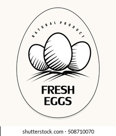 Logo with eggs, fresh farming products, badge, sticker emblem oval shape, simple line art vector illustration