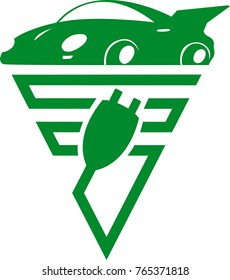 Logo electric car icon concept green drive symbol vector illustration