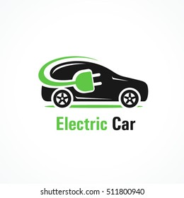 Logo electric car silhouette car and cable plug charging