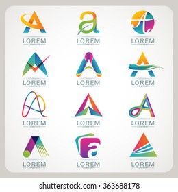 Logo element A and Abstract web Icon and globe vector symbol. Unusual sign icon and sticker set. Graphic design easy editable for Your design. Modern logotype icon.