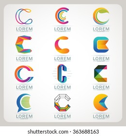 Logo element C and Abstract web Icon and globe vector symbol. Unusual sign icon and sticker set. Graphic design easy editable for Your design. Modern logotype icon.