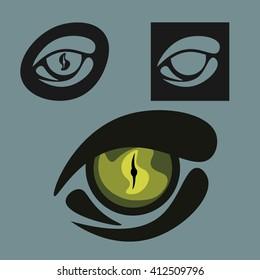 Logo elements, reptile eye, set
