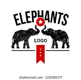 Logo elephants silhouettes, sign emblem design