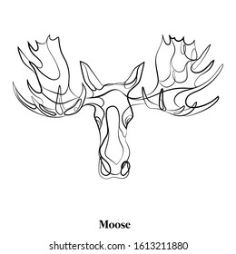 Logo Elk. The head of an elk with big horns. Linear drawing of a forest animal. One line drawing. Moose icon for infographic.
