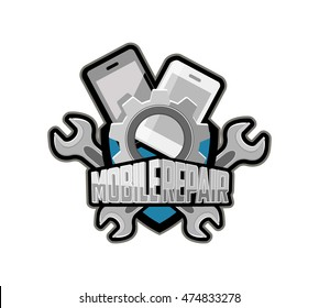 Logo, emblem, badge for company to repair mobile devices.