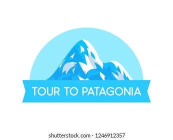 Logo Emblem with Illustration of Patagonia alps Vector Style - Vector Nature Landscape with text label isolated on white background.