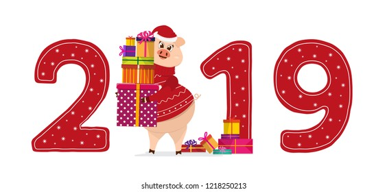 New Year Sign 2019 Funny Winks Stock Vector (Royalty Free ...