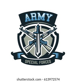Logo, emblem, military weapons, machine guns. Vector illustration, printing on T-shirts