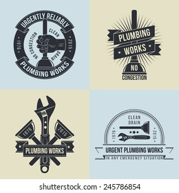 Logo, emblem of plumbers  in old-school style - 4 different versions. Force cup, wrench, hand with plunger.