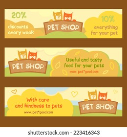 Logo, emblem store for cats and dogs. Cartoon illustration. Editable.A series of banners for advertising.