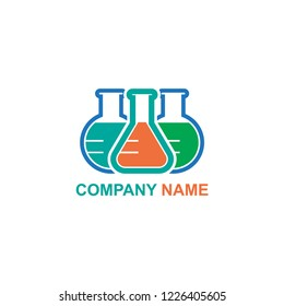 logo Erlenmeyer Flask and Volumetrik Flask vector