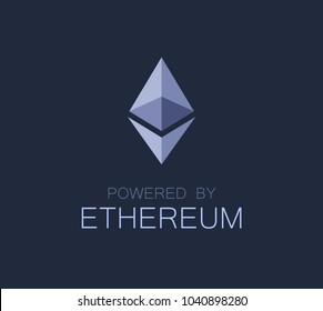 Logo of Ethereum, Vector Emblem on dark background.