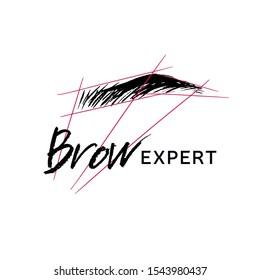 Logo for an expert eyebrow. Ink illustration.