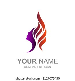 the logo of the face of a beautiful woman with her hair loose like a burning fire, the logo is ready to use