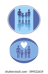 Logo of the family - father, mother , daughter, son