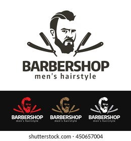 Logo of a fashion beard man with vintage razor blades. This logo is suitable for many purpose as, barber shiop, men's fashion, hipster stuff and more.