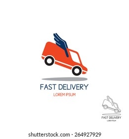 Logo of fast delivery. Concept of logo transport company in the form of the minibus with wings in flight. Color and black-and-white options.
