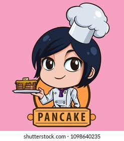 logo Female shot hair chef bakery - Manga style