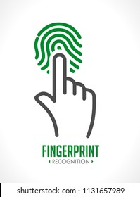 Logo - fingerprint recognition - biometric access control system concept