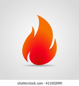 Logo  fire with shadow on a gray background. Vector illustration