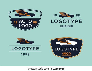Logo for firms engaged in auto-tuning, seat covers, painting. Retro image of cars with wings.