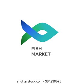 Logo of fish market, seafood label and badge, vector illustration.
