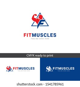 Logo Fit Muscles, for Gym or applications, elegant and modern logo