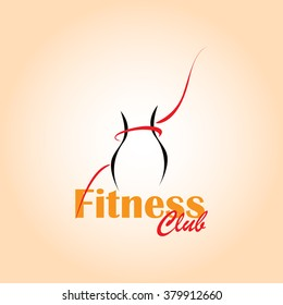 Logo fitness club. Silhouette of a female figure with a red ribbon.