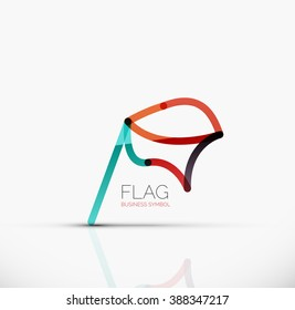 Logo flag, abstract vector linear geometric business icon