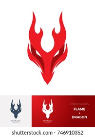 Logo Flame Creature : dragon. Vector Illustration
