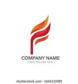 logo flame fire, logo initial letter f