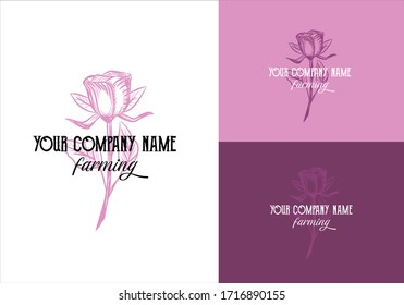 logo for a flower or farm company, brand in vintage style