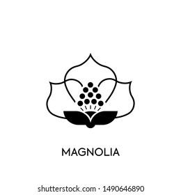 Logo Flower Magnolia  Design Vector