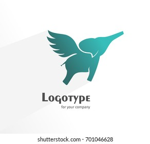 Logo with the flying and kind elephant for you.