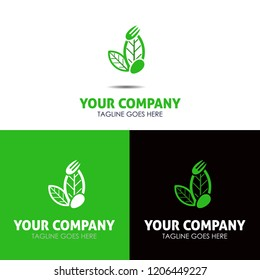 Logo food template with spoon fork leaves icon for your business identity
